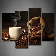 4 Panels Unframed Wall Art Pictures Coffee Bean Canvas Print Modern Food Posters No Frames For Living Room Decor