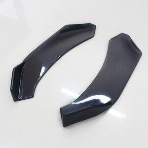 Image 4 - 2 stücke Schwarz Auto Vorderen Stoßfänger Diffusor Stoßstange Canard Lip Body Schaufeln Splitter Lip Body Protector Kit