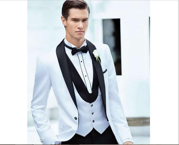 2017 Man S Suit Groom Tuxedos Wedding New White And Black Suits In From Men Clothing Accessories On Aliexpress