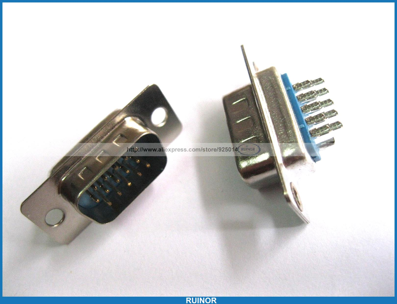 120 Pcs D Sub 15 Pin Male Solder Connector for PC Use 10 pcs d sub vga db 15 pin male solder type connector socket 2 rows db15f male