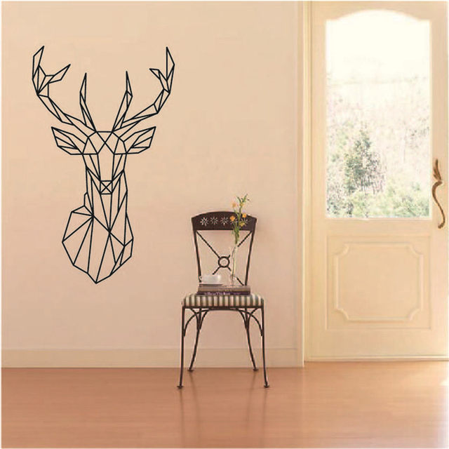 Simple Creative Geometric Elk Head Pattern Wall Sticker Self Adhesive PVC  Wallpaper Deer Wall Stickers Home Decal Wall Art