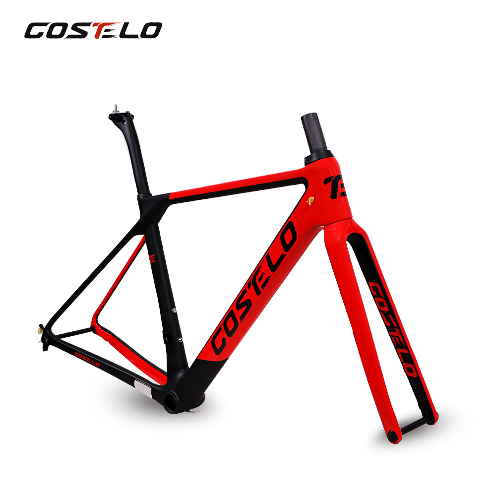 Costelo Rio 3.0 DISC Thru Axle ROAD BIKE Disc carbon road bicycle frame fork seatpost with H11 handelbar 140 rotor costelo rio 3 0 carbon fibre road bike frame fork clamp seatpost carbon road bicycle frame 880g with integrated handlebar