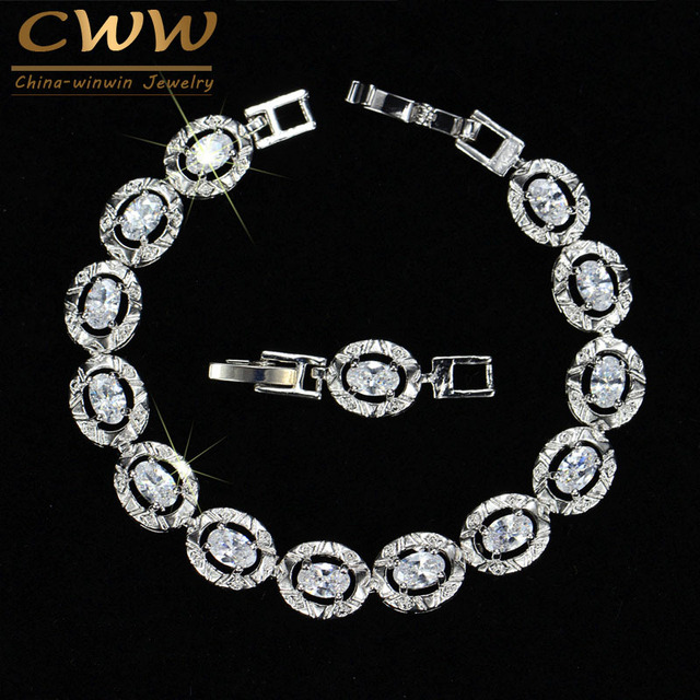 CWWZircons 2017 Newest Design Round Cut Silver Color Cubic Zirconia Crystal Fashion Ladies Bracelet For Women Gift CB027