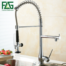 FLG Chrome Spring Pull Down Kitchen Faucet Dual Spouts 360 Swivel Handheld Shower Kitchen Mixer Crane Hot Cold Spring Taps