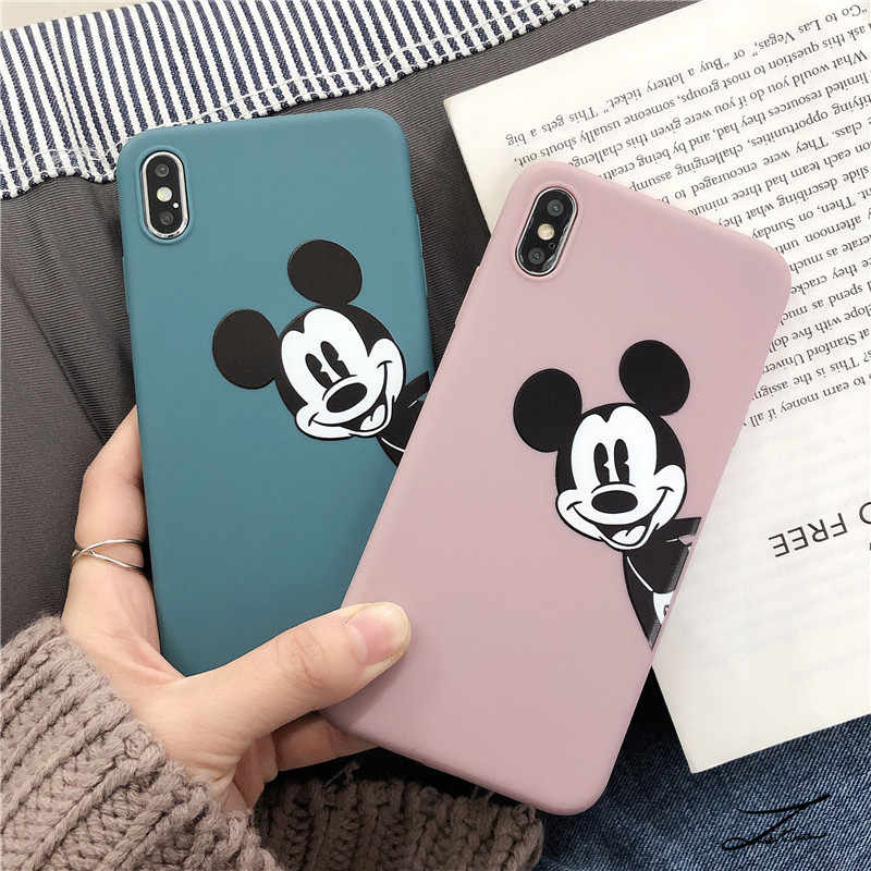 Mickey Minnie Soft TPU Cases For iPhone 6S 8 7 Plus 6 S  Matte Back For Coque iPhone X XS Max XR Cartoon Heart Phone Case Capa