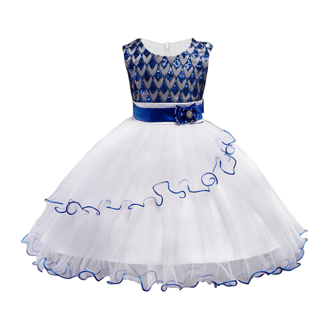 5e4241e71 Girl Party Dresses Blue Princess Sleeveless Wedding Birthday dress ...