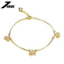 7SEAS Fashion Summer Jewelry Gold Color Little Elephant Anklet For Women Foot Bracelet On The Leg pulseras tobilleras,JM733
