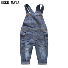 2016 Winter Denim Overalls For Kids Plus Velvet Warm Causal Boys Jeans Pants Child Girls Jeans Trousetrs Children's Jumpsuits