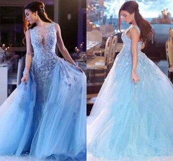 Blue Muslim Evening Dresses Ball Gown Tulle Lace Plus Size Elegant Islamic Dubai Saudi Arabic Long Evening Gown Prom