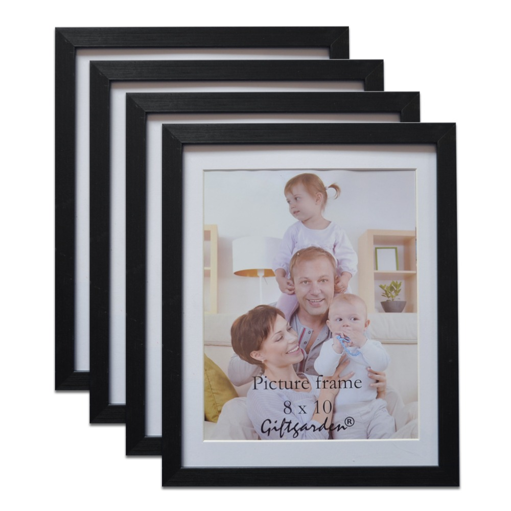 Giftgarden <font><b>8x10</b></font> Picture Frame Set For Decoration Wall Photo Frame Black Rim Home Decoration PVC Front Set of 4 Pieces