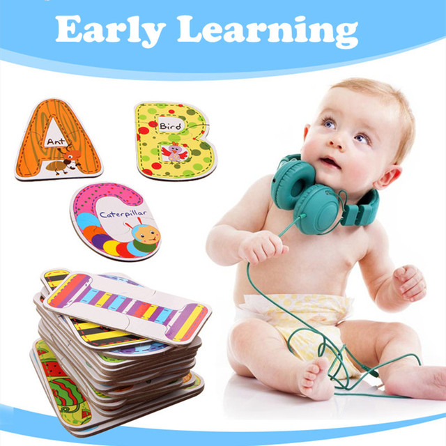 Baby Toys A- Z 26pcs Kids Letters Puzzles Cards For Children Colorful Educational Toys Alphabet Early Learning Toys Logical Game