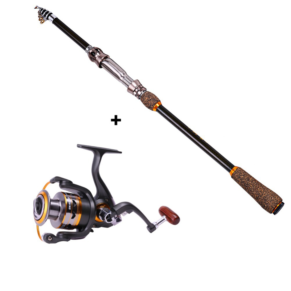 Telescopic spinning fishing rod with reel combo kits for Saltwater fly fishing combo