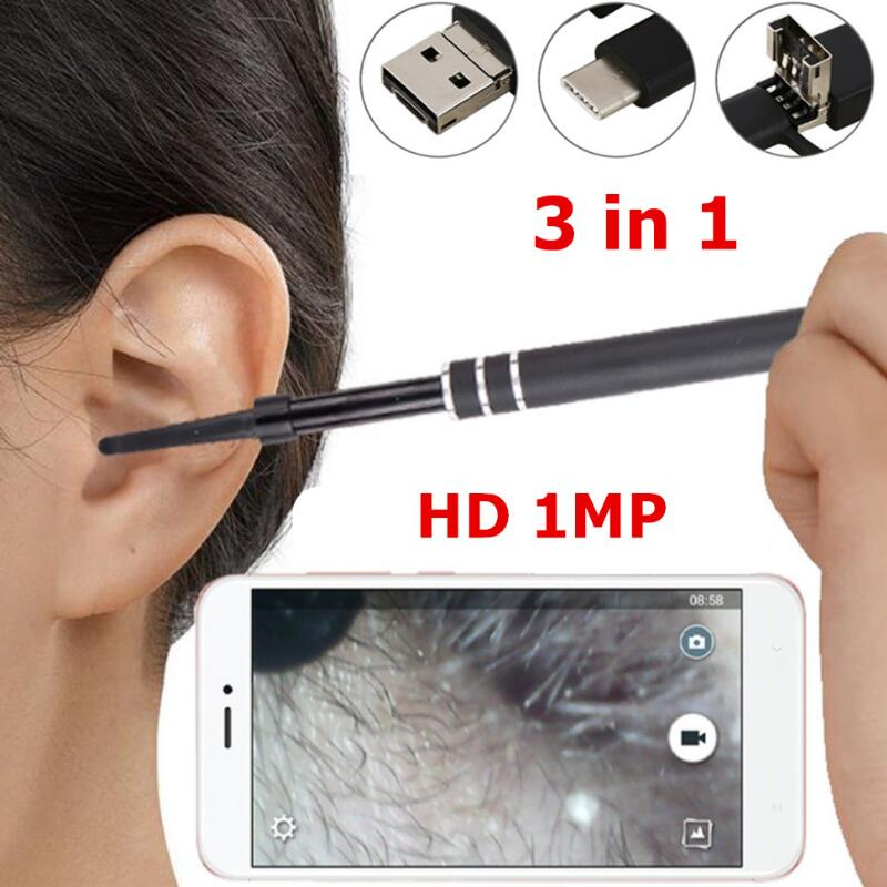3 in 1 Ear Endoscope HD Visual Ear Spoon Multifunctional Earpick With Ear Health Care Cleaning Tool Universal for PC Smartphone 3 in 1 sucker filter mixing spoon with cleaning brush