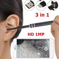 3 in 1 Ear Endoscope HD Visual Ear Spoon Multifunctional Earpick With Ear Health Care Cleaning Tool Universal for PC Smartphone