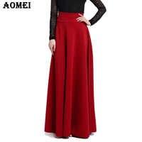 S M L 5XL Nouvelle Taille Haute Plissée Élégante Jupe Vin Rouge noir Solide Couleur Jupes Longues Femmes Faldas Saia 5XL Plus La Taille Dames Jupe