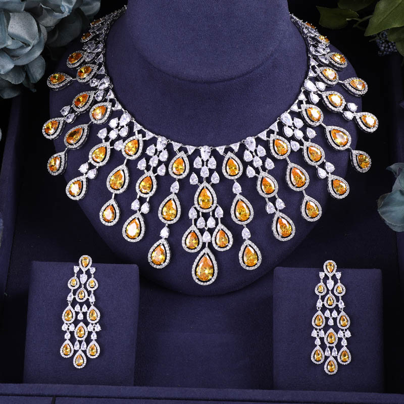 Accking  Trendy 2PCS Cubic Zirconia Necklace Earrings BIG SIZE For Women Party  Wedding Jewelry Sets MULTICOLORAccking  Trendy 2PCS Cubic Zirconia Necklace Earrings BIG SIZE For Women Party  Wedding Jewelry Sets MULTICOLOR