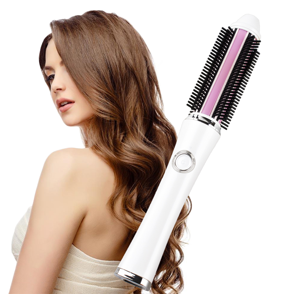 Portable USB Wireless Mini Hair Curler 2 in 1 Straightener Brush w/ Battery Electrical Curling Iron Brushes Straightening Comb gw new arrival 2 in 1 hair curler electric comb hairbrush curling hair straightener brush straightening iron roller styling tool