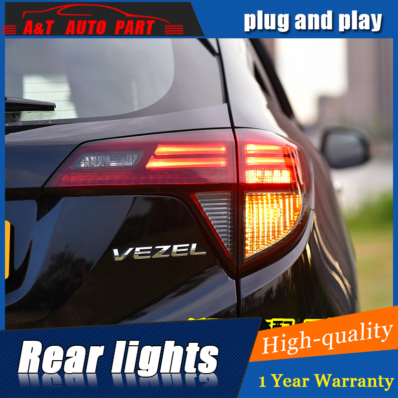 Car Styling LED Tail Lamp for Honda HRV VEZEL Taillight assembly 2015-2016 for HRV Rear Light DRL Signal h7 with hid kit 2pcs. free shipping china vland car led tail lamp for 2008 2015 mitsubishi lancer a6l style taillight with led moving signal light
