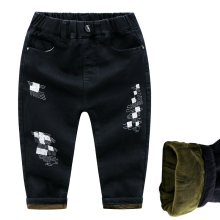 цена Winter New Children Jeans Thicker Keep Warm Jeans For Boys Trousers Children Pants Boys Pants Jeans