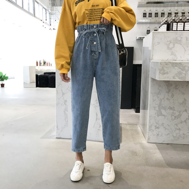 Spring 2019 New Korean Edition Student Belt with Button Loin   Jeans   and Flower Bud Hallen   Jeans   Girls MW121