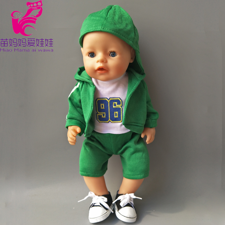 4 in 1 a set Green Hooded Coat outwear short pants shirt fit for 43cm Zapf Baby Born Dolls boy Clothes for 18 inch doll suit pink wool coat doll clothes with belt for 18 american girl doll