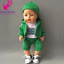 4 in 1 a set Green Hooded Coat outwear short pants shirt fit for 43cm Zapf Baby Born Dolls boy Clothes for 18 inch doll suit