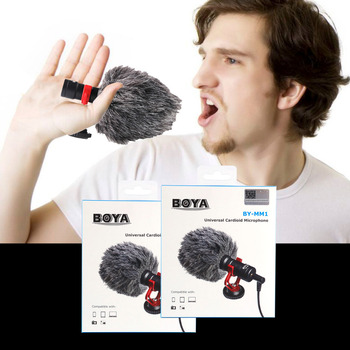 BOYA BY-MM1 Video Record Microphone for DSLR Camera Smartphone Osmo Pocket Youtube Vlogging Mic for iPhone Android DSLR Gimbal 1