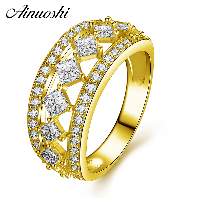AINUOSHI 10K Solid Yellow Gold Cluster Ring Princess Cut Sparkling CZ Engagement Women Hollow Ring Jewelry Luxurious Bridal Band punk style solid color hollow out ring for women