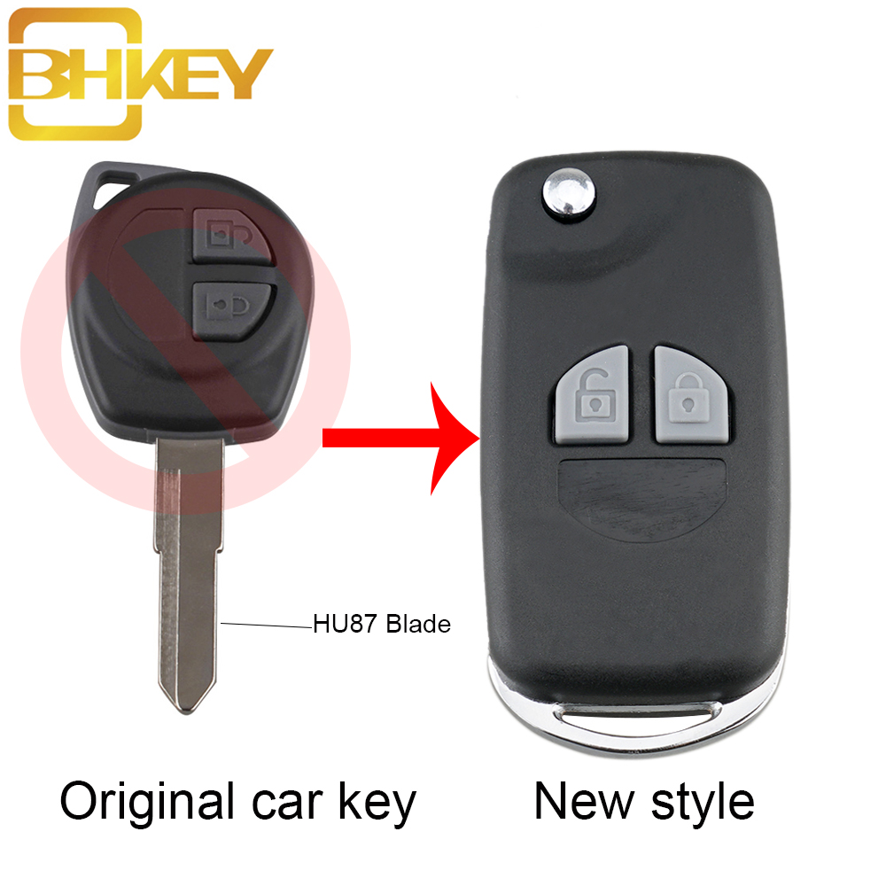 BHKEY 2Buttons Remote Car Key Case Fob For Suzuki SX4 Swift Grand Vitara Key Fob Cover+ Button Pad