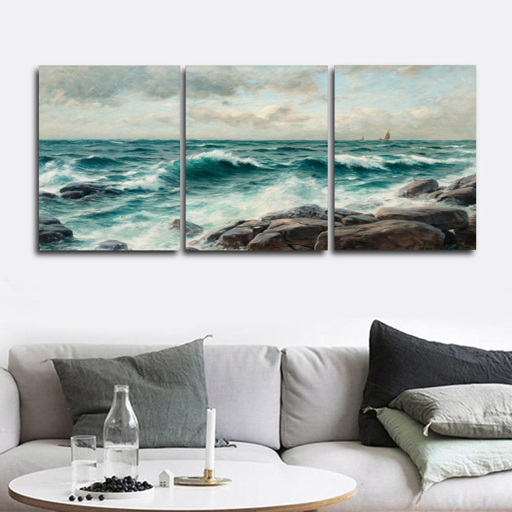 Laeacco Canvas Painting Calligraphy 3 Panel Seaside Wall Artwork Wave Posters Prints Vintage Home Living Room Decor in Painting Calligraphy from Home Garden