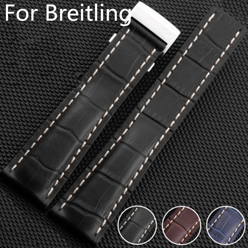 Brand High Quality Genuine Leather Watch Strap 22mm 24mm Watch Band For navitimer/avenger/Breitling Watchband Buckle With Logo d 32 fashion purple red fish skin leather watch strap 24 22mm watchband with buckle