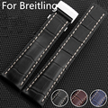 Brand High Quality Genuine Leather Watch Strap 22mm 24mm Watch Band For navitimer/avenger/Breitling Watchband Buckle With Logo
