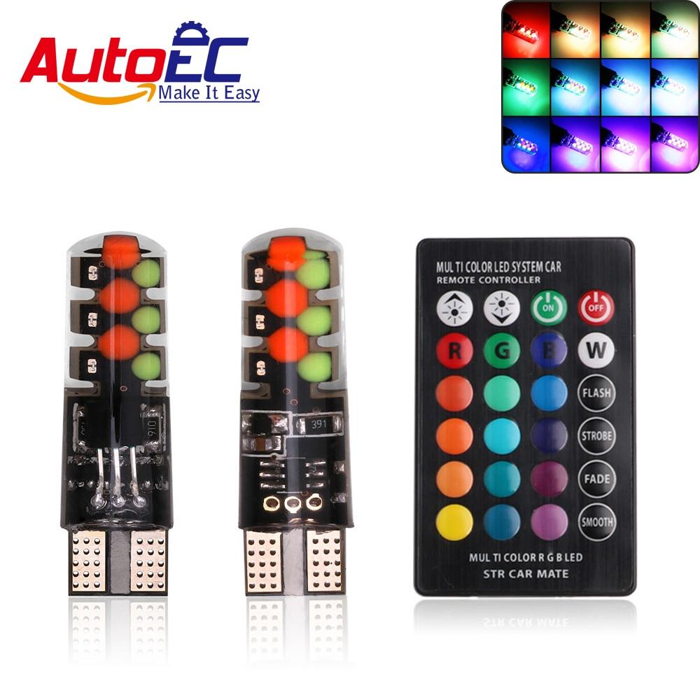 AutoEC 1 set T10 COB RGB W5W 194 168 LED CAR Bulb strobe flash With Remote Control Wedge Tail Lamp DC12V #LB242