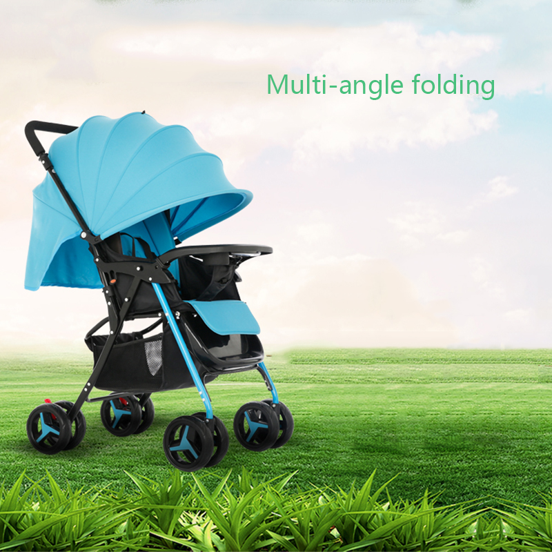 Baby stroller two way can sit reclining ultra light portable folding child four wheeled baby umbrella cart free shipping baby stroller ultra light portable shock absorbers bb child summer baby hadnd car umbrella