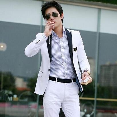 Blanco Coreano Los Hombres De Trajes Pantalones Conjunto Chaqueta qXTzw1A