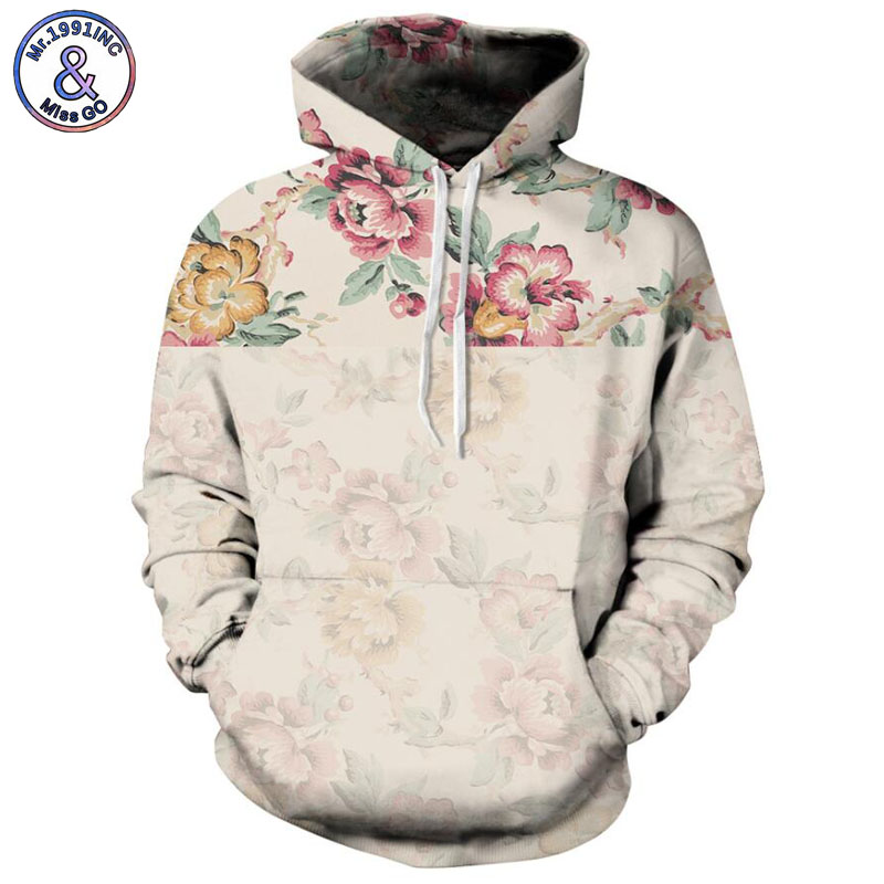 Mr.1991INC 2018 new Hot Rosa Roses Floral 3d Sweatshirts Men/womens hoodie sweatshirt Casual Hooded Pullovers Men Hoodies M090