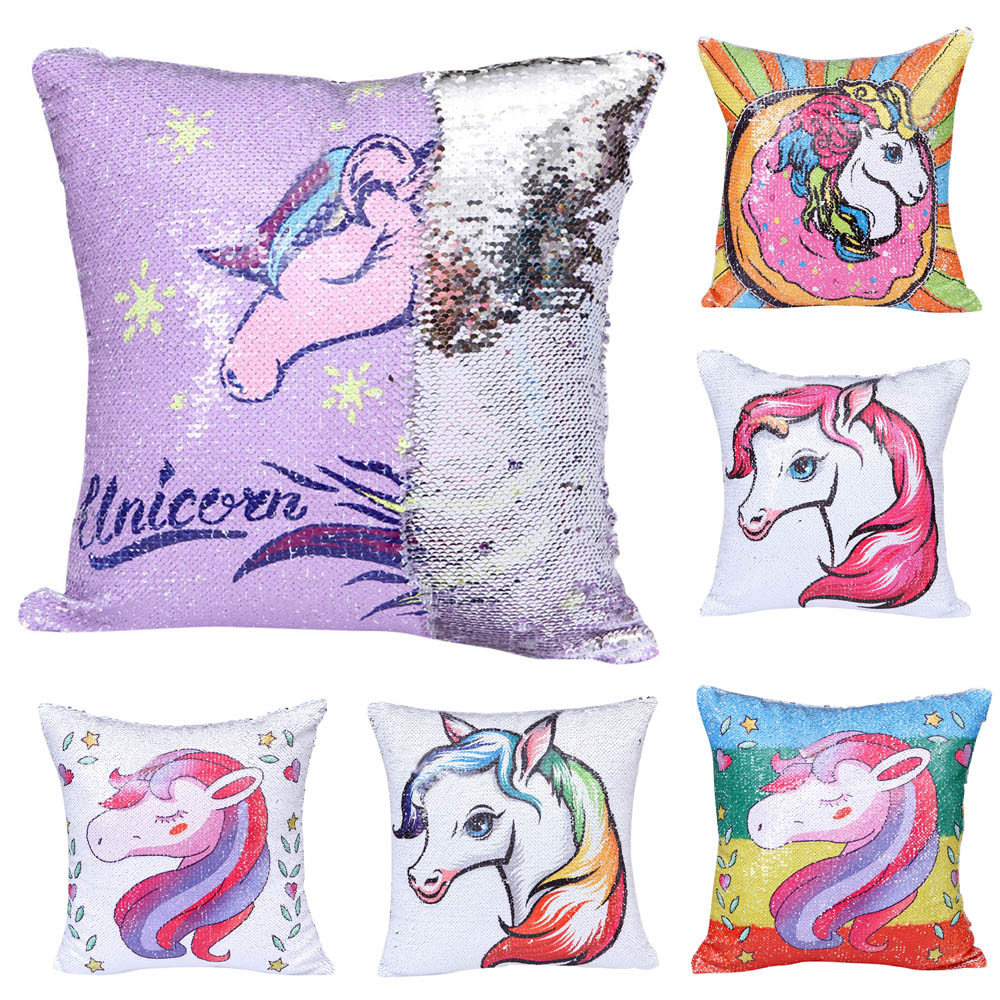 Unicorn Rainbow Zebra Color Glitter Pillowcase Sequins Throw Pillow Cafe Home Decor Cushion 40cmX40cm Square For Sofa Car Seat