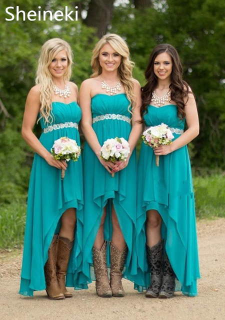Chiffon Sweetheart Country Bridesmaid Dresses Hunter Teal Turquoise High  Low Beaded Belt Party Wedding Guest Dress Maid of Honor 4168c3704363