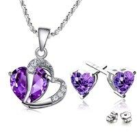 Gerçek 925 Gümüş Romantik Mor Aşk Kalp Kolye Kolye Küpe Moda Düğün Takı Setleri Sevgililer Günü Hediyeleri