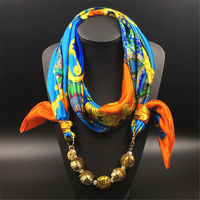 100cm*100cm Women Necklace Scarves 100% Silk Scarfs Women 2017 Sequin Ball Pendant Decorative Printing Large Square SA