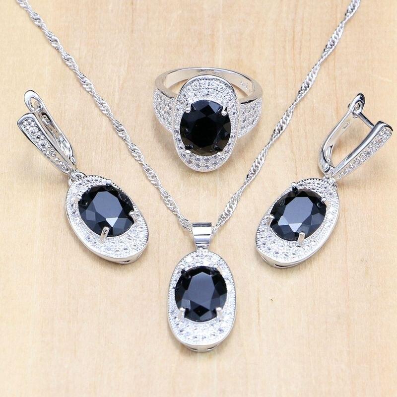 Hochzeits- & Verlobungs-schmuck Mysteriöse Frauen 925 Silber Schmuck Sets Schwarz Cz Weiß Kristall Perlen Party Zubehör Ohrringe/anhänger/halskette/ring