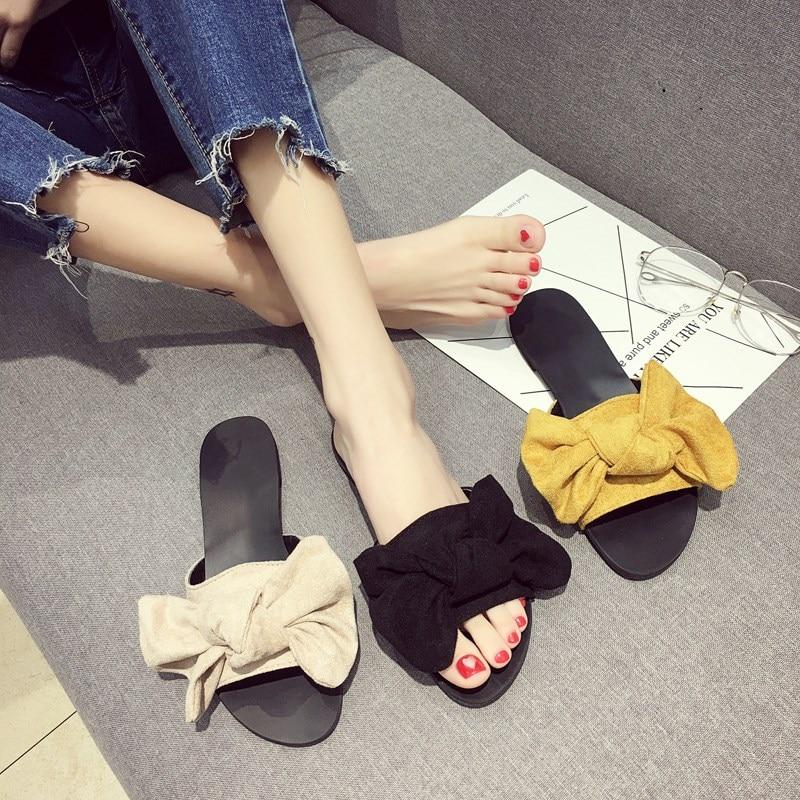 EOEODOIT Летние тапочки большой бант плоская подошва с открытым носком Карамельный цвет 2018 новые женские туфли без задника