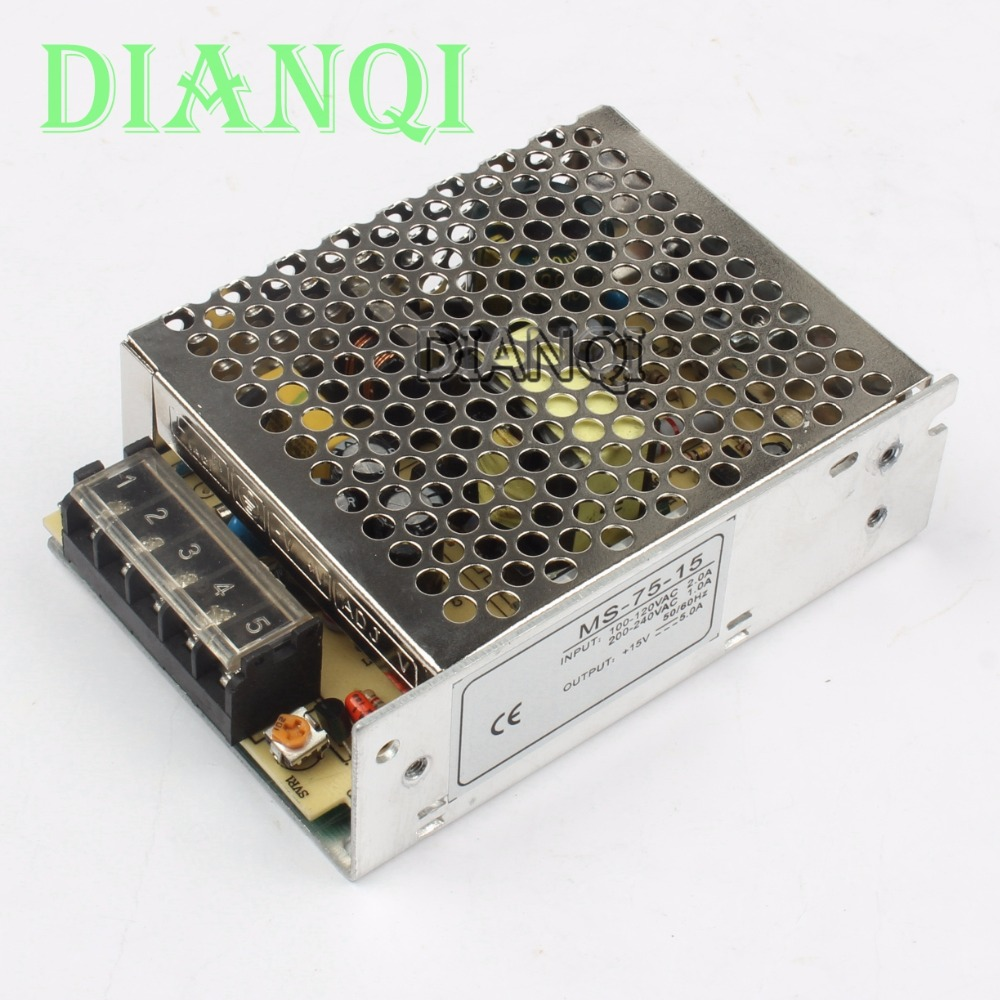 DIANQI power supply 75W 15v 5a mini size ac dc converter power supply unit ms-75-15  15v variable dc voltage regulator nc dc dc dc adjustable voltage regulator module integrated voltage meter 8a voltage stabilized power supply