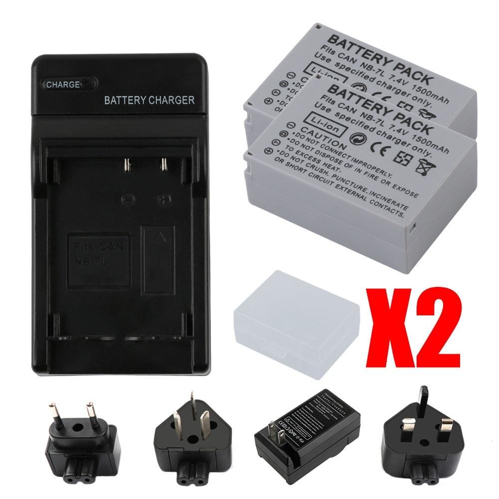 RP 2 x 1500mah NB-7L NB7L NB 7L Camera Battery + USB Charger For Canon PowerShot G10 G11 G12 SX30IS Batteria
