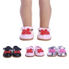 Luckdoll kleurrijke ronde kop lederen schoenen passen 18-inch Amerikaans meisje poppen, kinderen beste vakantie cadeau
