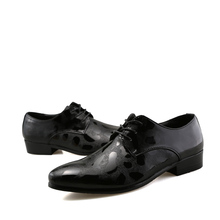 BOXINIDI New Designer Fashion Normal Men Leather Shoes,Casual Dress Business Man Evening Mans Shoes Black Gold Size 6.5-9
