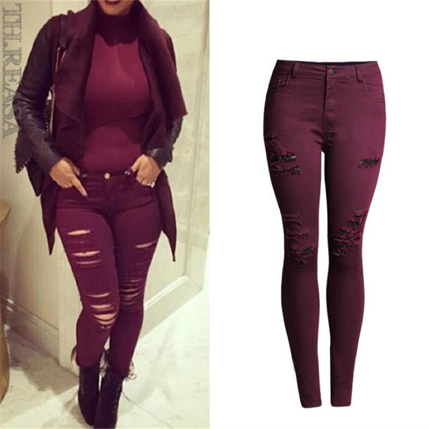 8155df25cd22f high waist jeans woman 2016 Large size Multiple hole Tight Claret Elastic  force Feet Pencil pants ripped jeans for women jeans