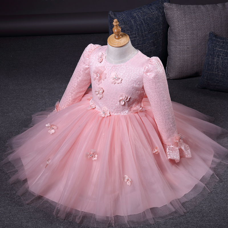 Baby Favorite Long Sleeve Pirncess Girls Dress Floral Wedding Party Thick Dress For Winter New Year Gift For Baby Girl Children monkey foil balloon auto seal reuse party wedding decor inflatable gift for children