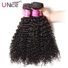 Волосы UNICE компания монгольская причудливая завивка волосы 3 Связки человеческих волос расширение 8-26 дюймов натуральный цвет Пучки Волос Remy
