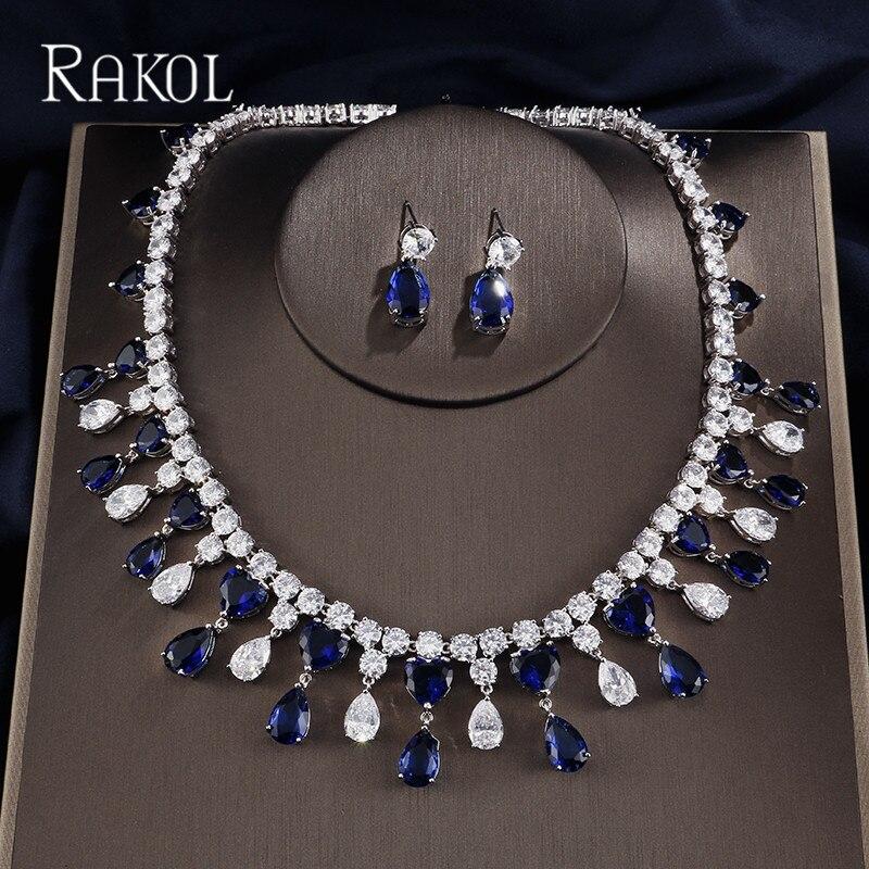 RAKOL classique goutte d'eau africaine zircon cubique perles collier femmes mariage et fiançailles bijoux ensembles